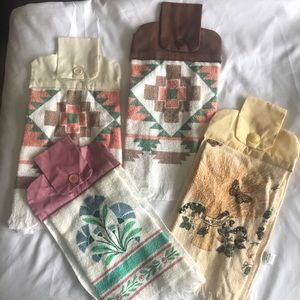 Vintage hand towel set, hand sewn for cabinets